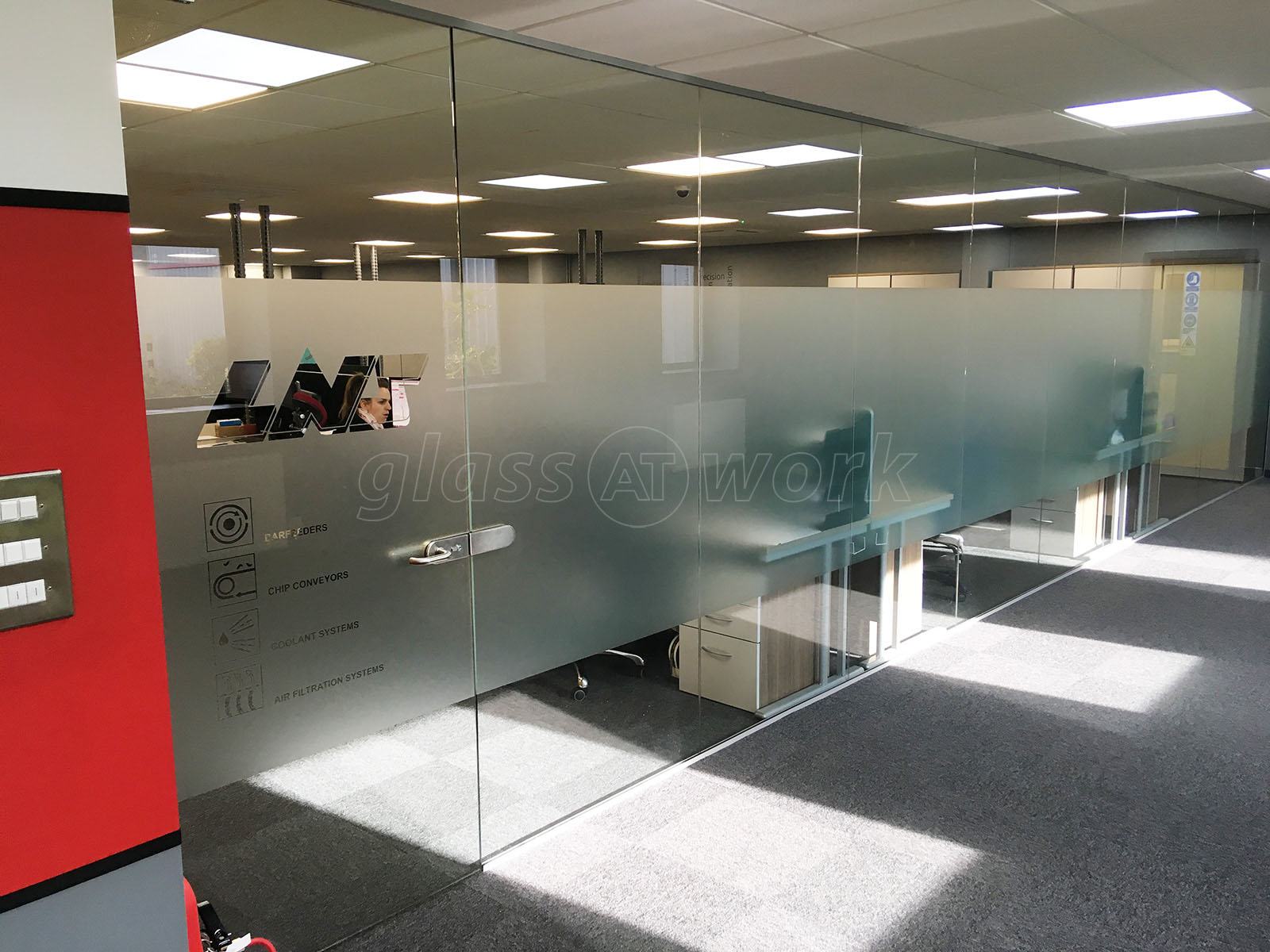 Glass partitioning at lns turbo uk ltd barnsley south for Office wall interior