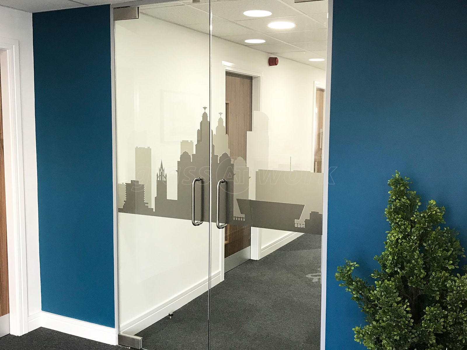 SpaceBuilder Ltd (Liverpool) Frameless Double Doors With Bespoke Window Film (Liverpool Skyline & Glass Partitions at SpaceBuilder Ltd (Liverpool): Frameless Double ...