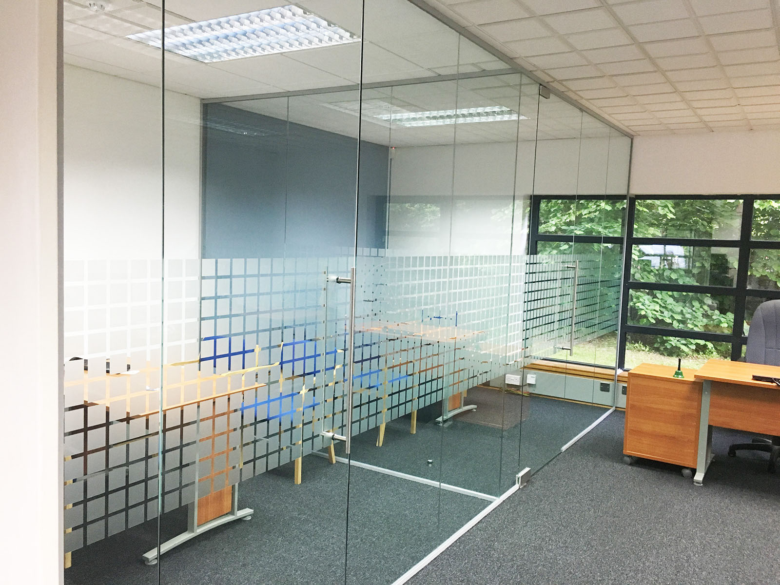 Glass partitioning at park gate mortgage protection ltd Opening glass walls