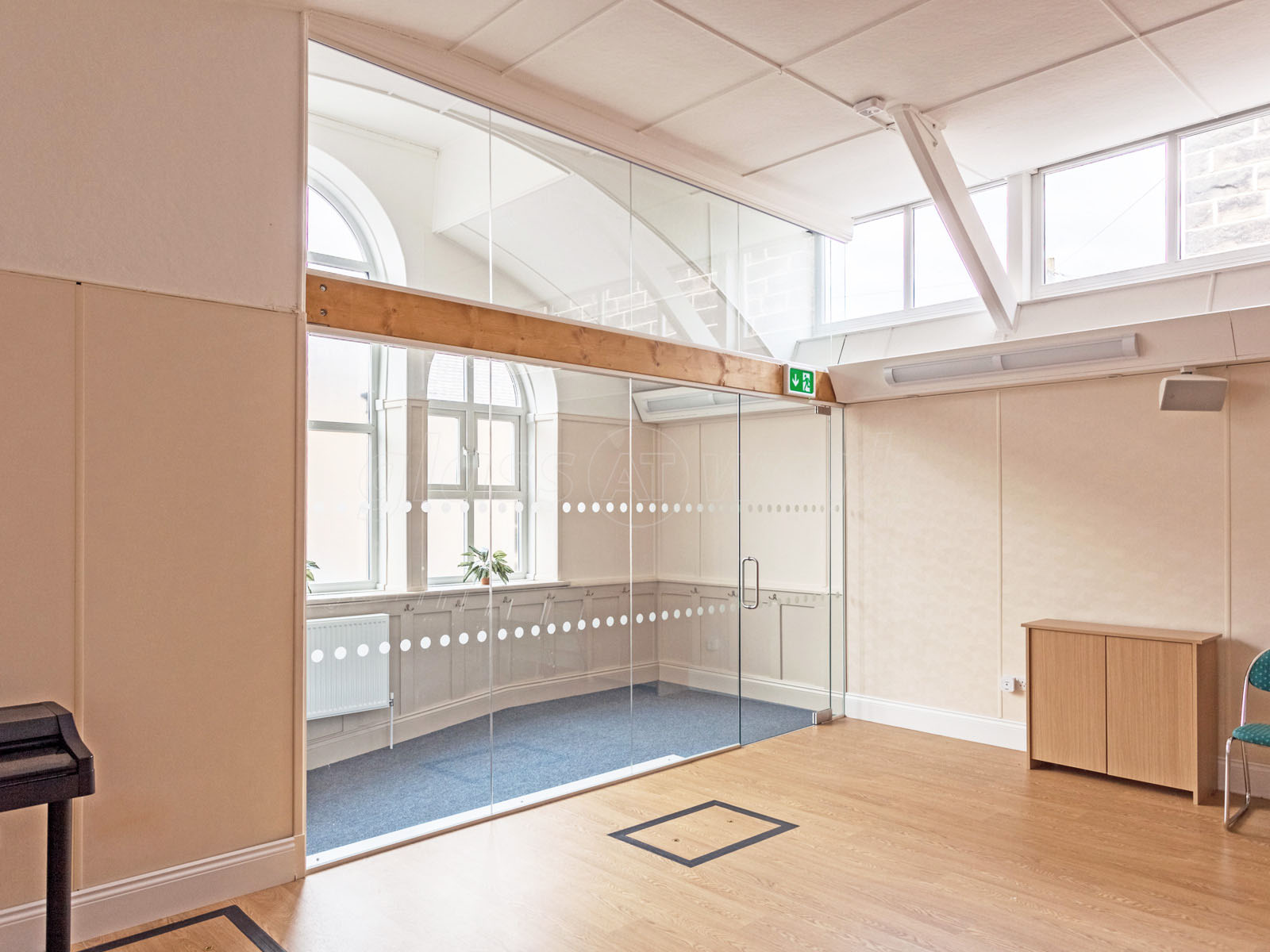 Partition Walls With Doors : Glass partitioning at oughtibridge wesleyan reform chapel