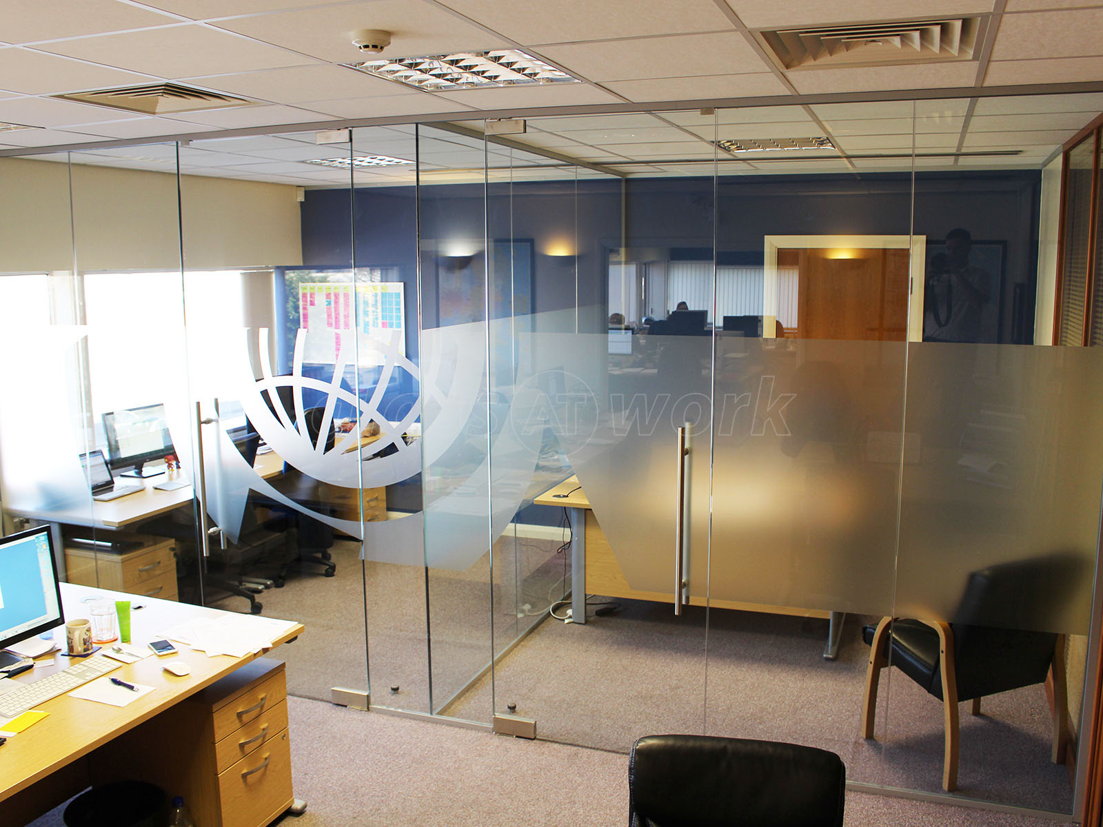 glass partitioning at world options ltd rossendale lancashire