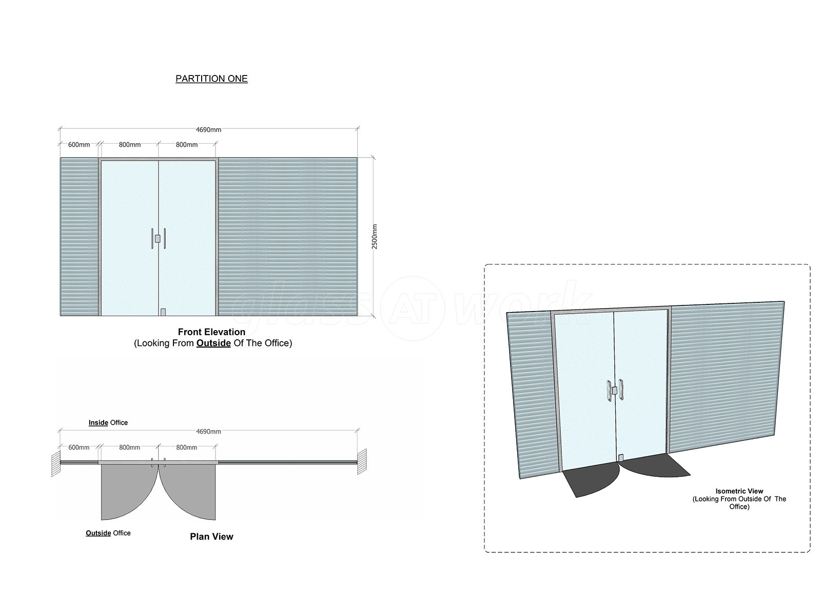Glass Partitioning At The Coign Church Woking Surrey Double Glazing Diagram Glazed Screen With Integral Blinds And