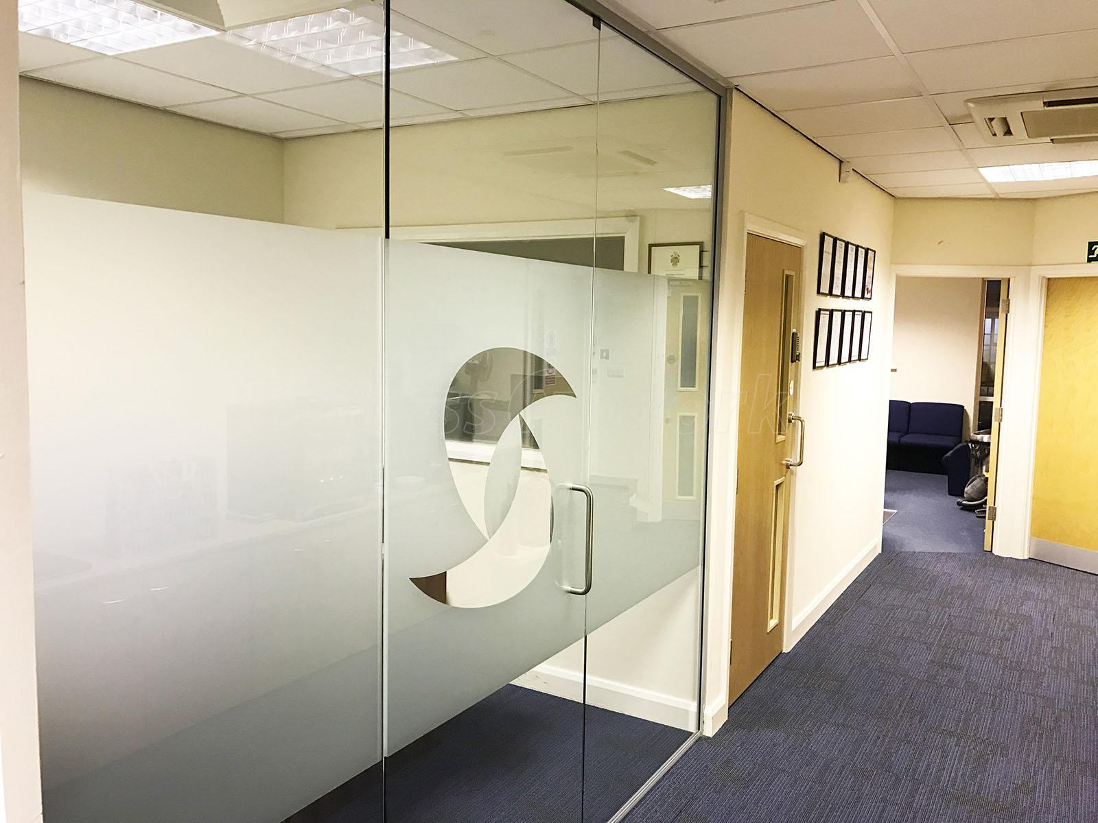 Glass partitioning at one step solutions llp huntingdon small glass partition and glass door Interior glass partition systems