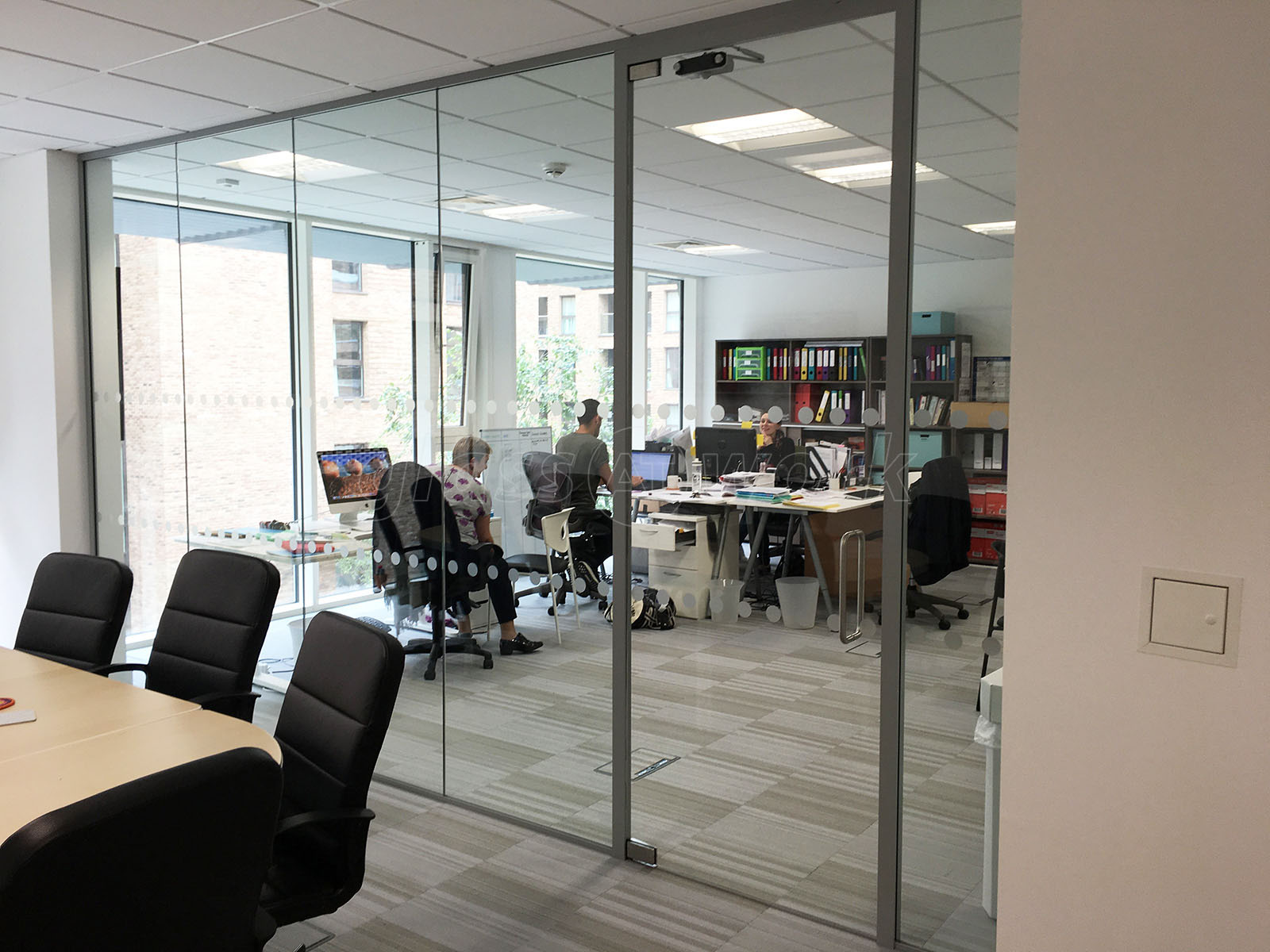 Glass partitioning at wendy fisher consulting london acoustic wendy fisher consulting london acoustic glass partition with framed glass door planetlyrics Choice Image