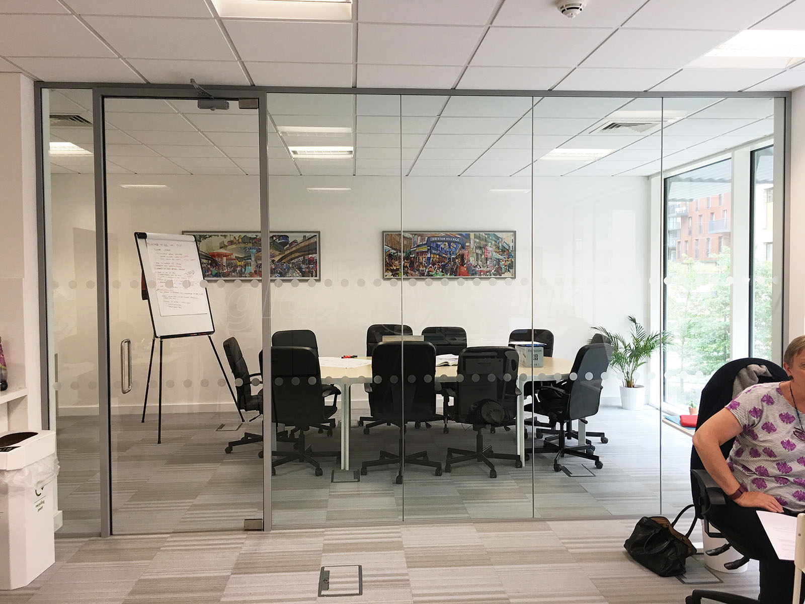 Glass partitioning at wendy fisher consulting london acoustic wendy fisher consulting london acoustic glass partition with framed glass door planetlyrics Gallery