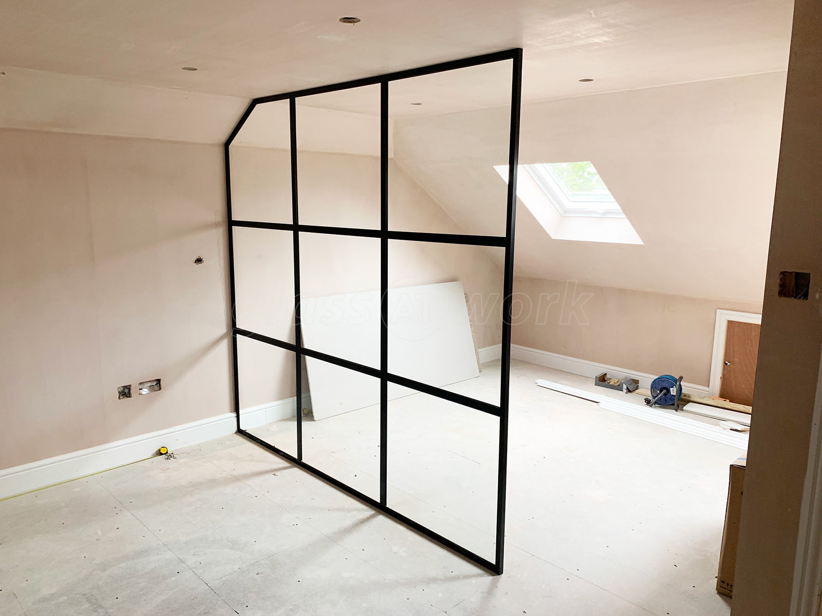 Glass Partitions At Domestic Project Bexleyheath Kent Industrial Style Black Framed Room Divider