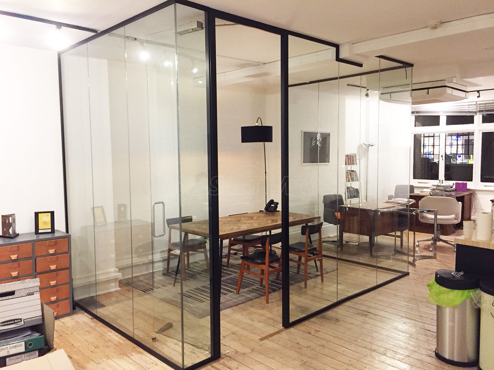 Glass partitioning at bonafide films london acoustic for Glass walls