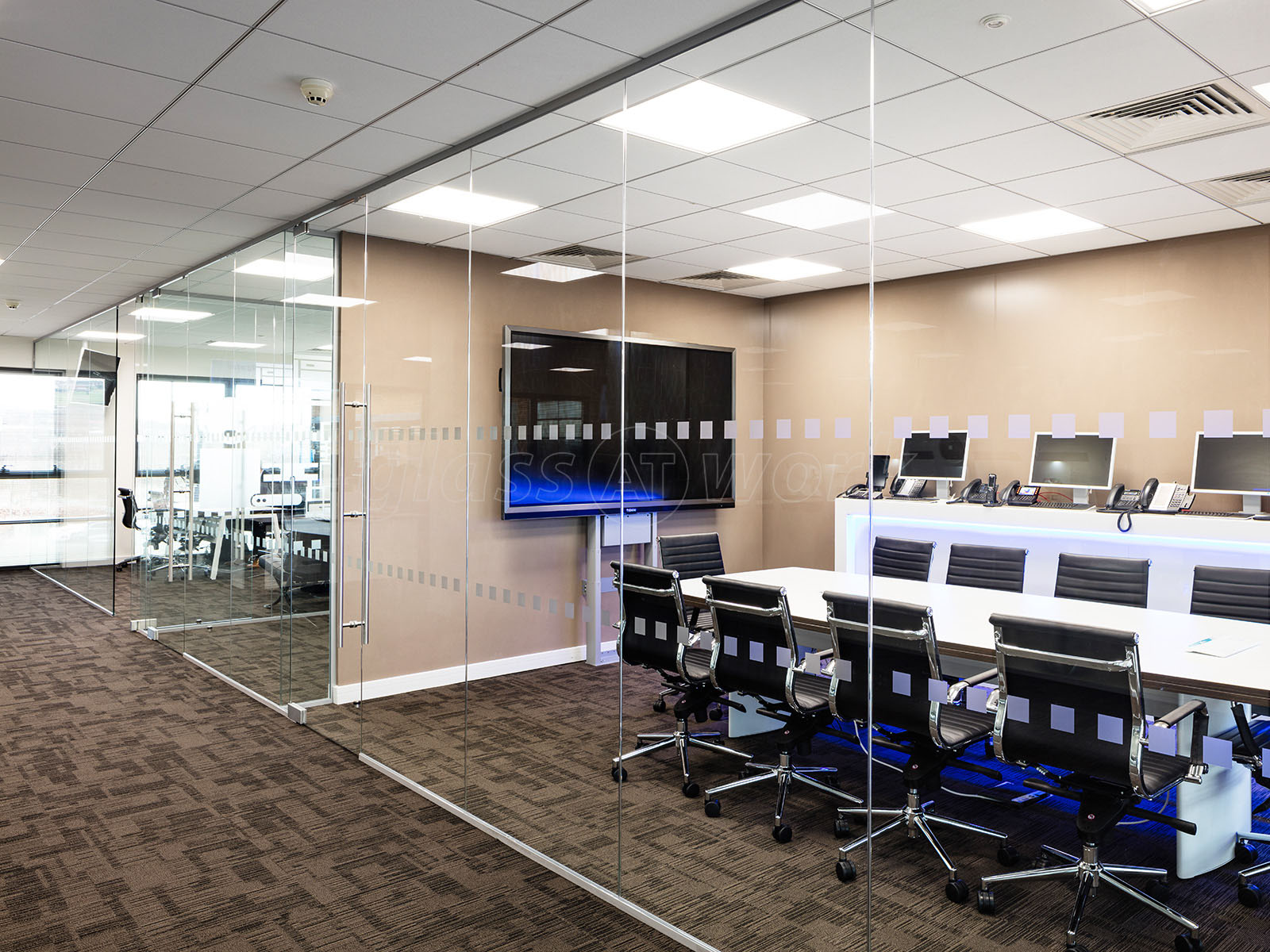 Glass partitioning at millgate connect sheffield mulitple interior glass wall Interior glass partition systems