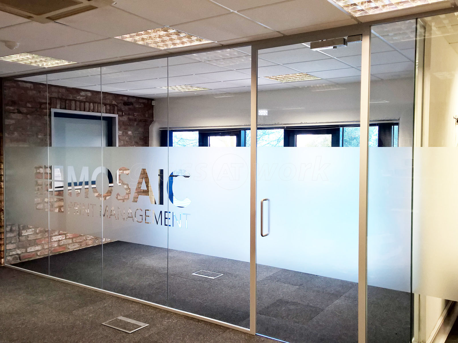 Glass partitioning at mosaic print management york for Office design with glass