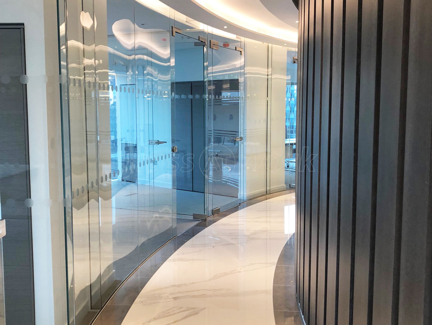Glass Partitions at Spot This Space (Lambeth, London): Curved Glass ...