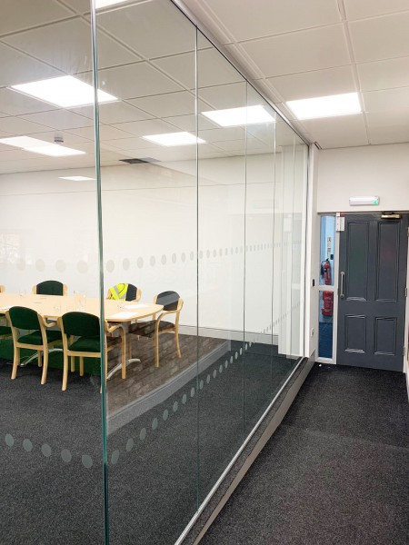 Mosaic Print Management (Long Marston, York): Corner Room Acoustic Glass Partitioning