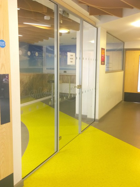 Petroc College (Barnstaple, Devon): Multiple Toughened Glass Screens, with Framed Glass Door Leafs