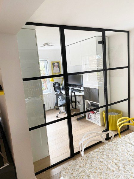 Residential Project (Battersea, London): Home Office Using Our Industrial-Style Glass Partitioning System