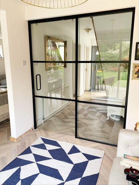 Residential Project (Allestree, Derbyshire): Industrial Effect Glass Sliding Door And Room Divider