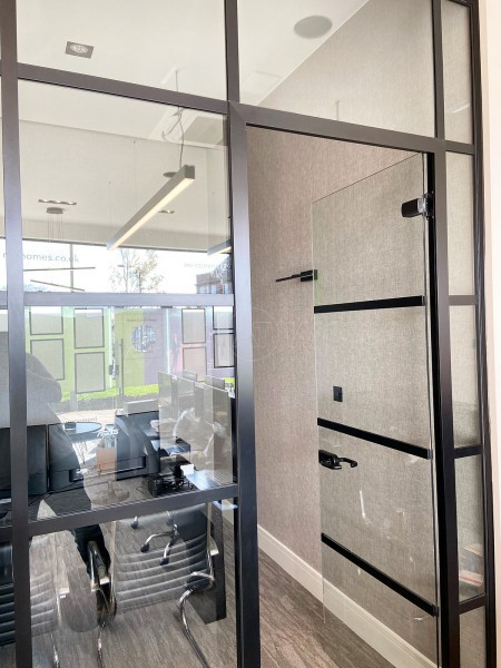 Pyramid Carpentry & Construction Ltd (Southgate, London): T-Bar Industrial Look Acoustic Glass and Door With Black Frame