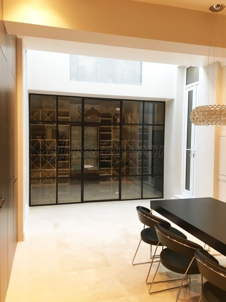 Domestic Project (Fulham, London): Black Framed Industrial Factory Style Glass Partition Wall & Door