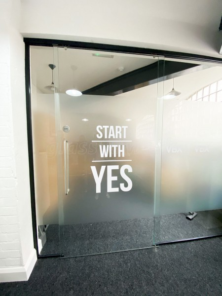 Voiceboxx (City Centre, Birmingham): Office Glass Sliding Door and Side Panels