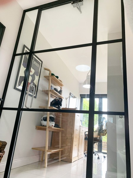 Residential Project (Hexham, Northumberland): Industrial Style Interior Glass Door With Black Bars For Home Office