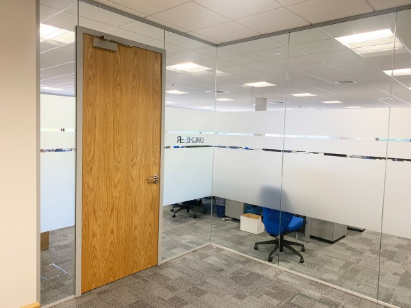 4front Interiors (Northampton, Northamptonshire): Glass Corner Meeting Room With Acoustic Glass and Timber Door