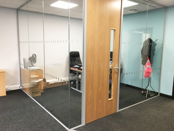 Aalco Metals Limited (Chepstow, Gwent): Acoustic Glass Corner Meeting Room With Timber Door