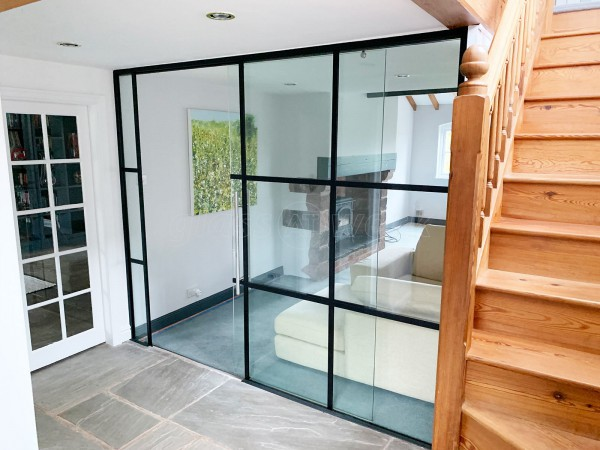 BC Heywood Joinery (Nantwich, Cheshire): Black Industrial T-Bar Glass Wall With Top-Hung Sliding Door