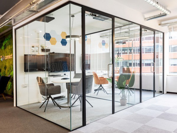 BJ Refurbishments (Putney Bridge, London): Glass Office Cubicles With Black Frames & Soundproofing