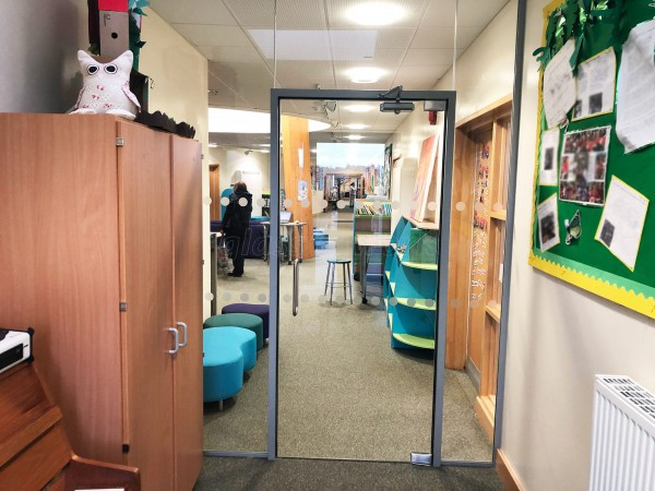 Bengeworth Academy (Evesham, Worcestershire): School Acoustic Glass Partition and Framed Glass Door