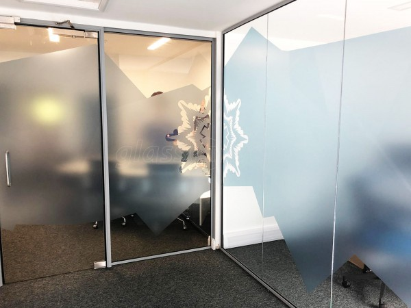Blue Light Card (Loughborough, Leicestershire): Glass Partitions With Window Film Graphics