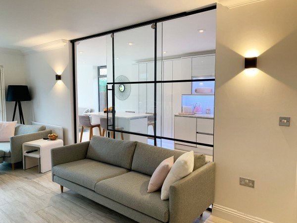 Concord ICB Contractors Ltd (Hullbridge, Essex): T-Bar Residential Shoreditch-Style Glass Wall Including Top Hung Sliding Door Leaf