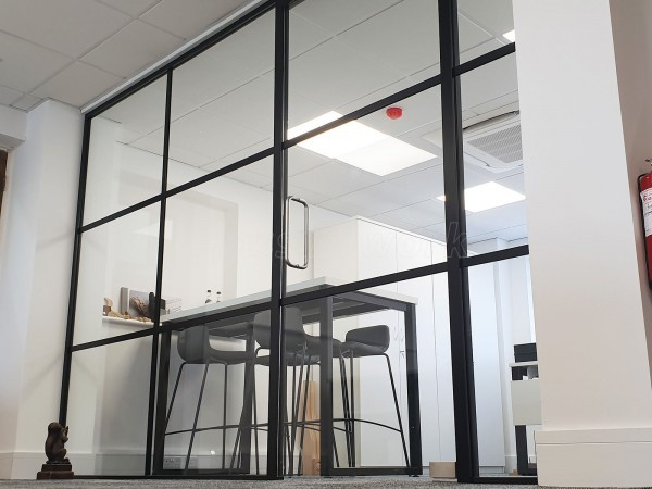 Decora Mouldings (Gloucester, Gloucestershire): Industrial Style Black Framed Glass Screen Supplied and Installed