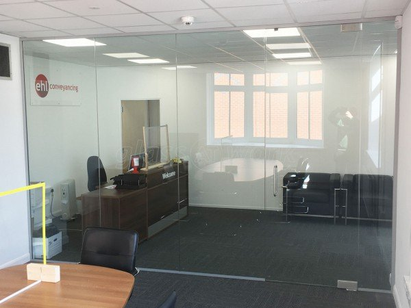Edward Hands and Lewis Ltd (Leicester, Leicestershire): Inline Glass Wall With Frameless Door