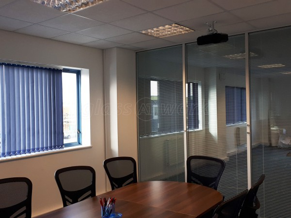 FJE Plastic Developments Ltd (Biggleswade, Bedfordshire): Double Glazed Glass Partition With Blinds
