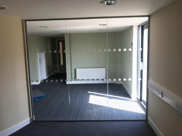 G.Harrison Buildrite Leicester Ltd (Peckleton, Leicestershire): Glass Office Wall With Frameless Glass Double Doors