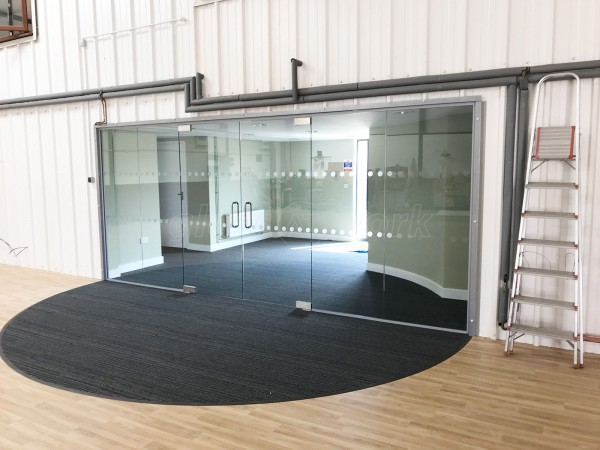G.Harrison Buildrite Leicester Ltd (Leicester): Glass Office Wall With Frameless Glass Double Doors