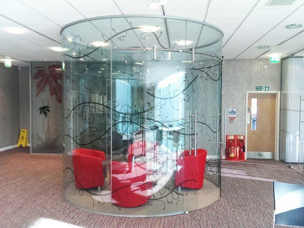 Curved Glass Frameless Office Partitioning