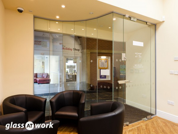 Faceted Glass Office Partitioning