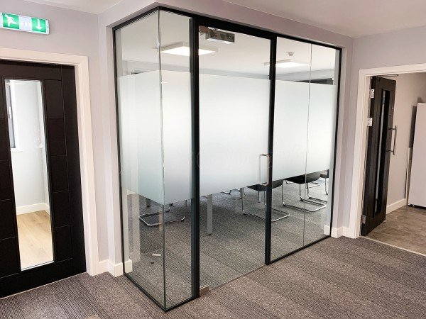 Intex Facades (Mansfield, Nottinghamshire): Laminated Acoustic Glass Corner Room With Bespoke Opal Frost Film