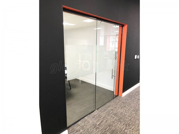 James Andrew Recruitment Solutions (Clarendon Park, Leicester): Glass Sliding Door + Glass Hinged Door