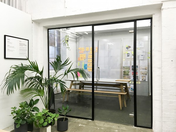 Kennedy Woods Architecture (Southwark, London): Small Glazed Office Wall Partition Black Framed