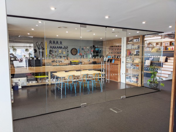 Kyan (Guildford, Surrey): Glazed Room Partition With Frameless Glass Double Doors