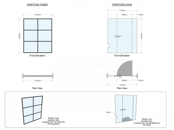 Stellarise Limited (Southwark, London): Warehouse Style Glass Partitioning (Black Banded Glass Walls)