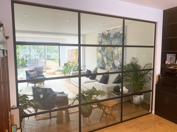 Domestic Project (Finchley, London): Black Framed Industrial-Style Glass Wall Installation To Form Home Office