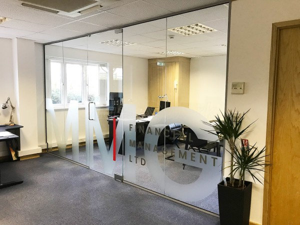 MMG Financial Management (Northampton, Northamptonshire): Inline Single Glazed Frameless Glass Wall With Logo Window Film