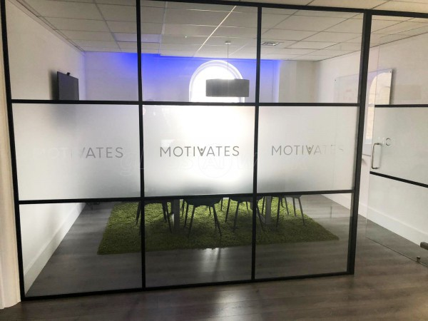 Motivates Inc Limited (Hackney, London): Industrial-Style Aluminium Banded Internal Glass Partitioning