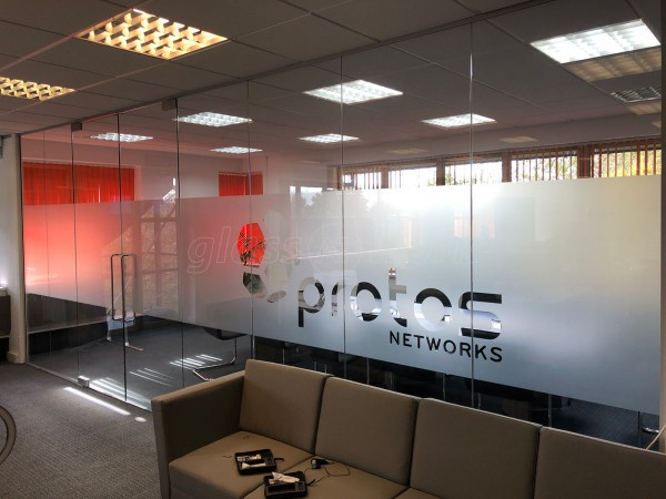 Protos Networks (Chester, Cheshire): Office Partition With Double Frameless Glass Doorset