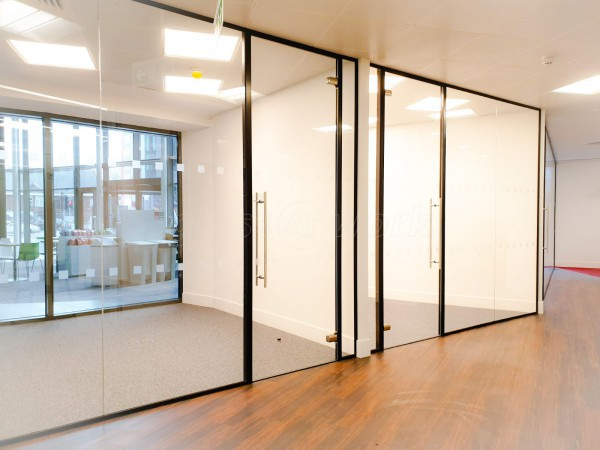 Rise Interiors (Croydon, London): Frameless Commercial Glass Office Fit-Out With Black Track