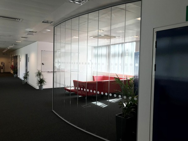 SBD Automotive (Milton Keynes, Buckinghamshire): Faceted Glass Office Partition [A Cost Effective Alternative To Curved]