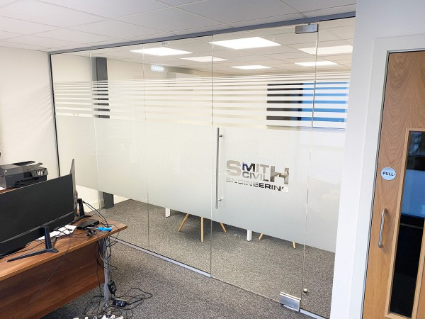 Smith Civil Engineering (Norwich, Norfolk): Toughened Glass Office Wall With Frameless Door