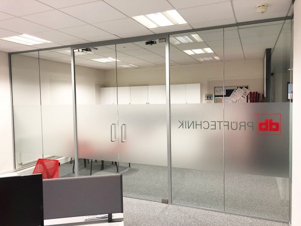 Pruftechnik Ltd (Lichfield, Staffordshire): Glass Office With Soundproof Glazing
