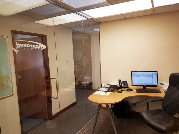 Approved Hydraulics Ltd (Stockport, Cheshire): Glass Office Partition Including Frameless Door